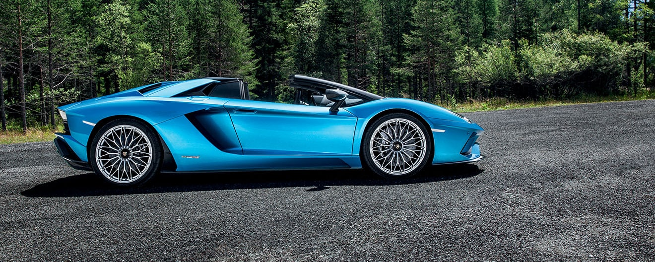 A light blue Aventador S Roadster, as seen from the side, parked on a road near the woods